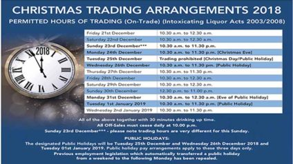 LVA Christmas Trade Hours 2018