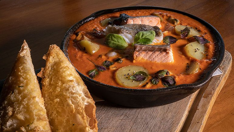 Seafood Skillet with Chorizo Cream Sauce from The Merrion Inn - #DubPubDishes